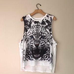 Express white tiger graphics shirt
